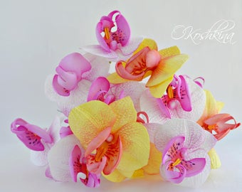 orchid hair clips, orchid hair pin, wedding orchid, orchid hawaian, tropical wedding, orchid brooch, orchid bouquet, orchid hair