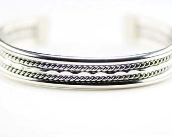 Native American indian Jewelry Handmade Sterling Silver Cuff Bracelet By Elaine Tahe