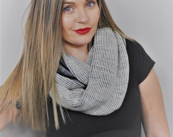 Hand knit cowl scarf, Handmade scarf knit infinity scarf, Womens gift for her, Knitted scarf, Wool scarf, Winter scarf, knit scarf.