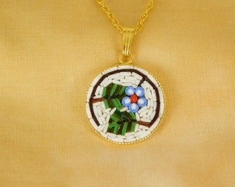Micro mosaic pendant necklace - leaves and flower
