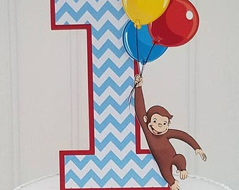 Curious Monkey George Smash Cake Topper, Curious George Cake topper, Curious Monkey george birthday, Curious George baby shower monkey party