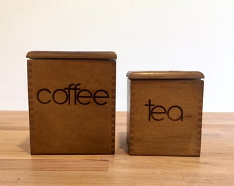 Vintage Wooden Coffee and Tea Canisters | Great Modern Font | Joined Edges