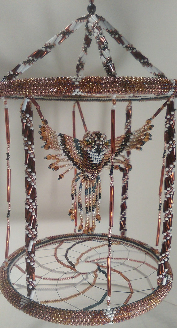 The Beaded Brown Owl Bird Cage, 3D Beaded Art made with Czech glass silver lined seed and tube colored beads