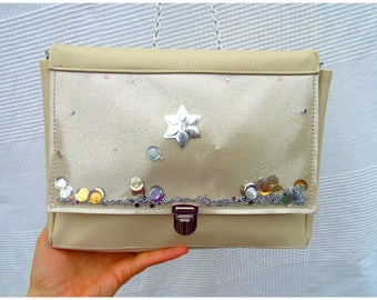 Shoulder bag with glitter and paillttes shakerabili