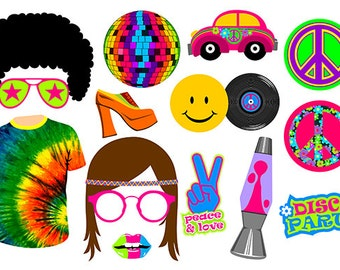 70's digital photo booth party props instant download