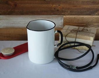 Vintage Enamel Irrigator - Vintage Medical Display - Enameled Wall Hanging - Enamel Fountain - Enameled Pot with an Handle