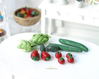 Miniature Salad Selection, dollhouse salad, 12th scale miniature vegetables,miniature tomatoes - miniature dollhouse food, 1:12 scale food
