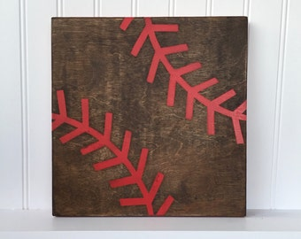 Baseball Sign - Wood Sign, Hand Painted, Hand Stained, Baseball, Home Decor