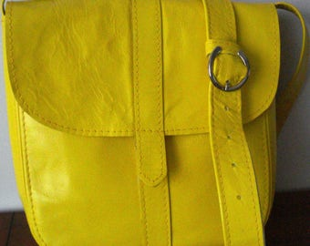 Yellow Leather  Cross body bag