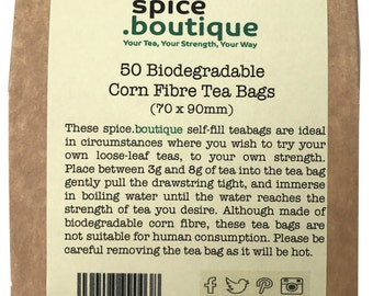 spice.boutique 50 CORN FIBRE BIODEGRADABLE Self Fill Large Tea Bags Drawstring