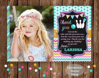Thank you cards Bowling Party Favor tags digital gift Decoration birthday printable DIY Thank you card tag photo photograph #THBW4