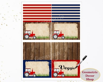 Tractor Food Tent Labels Birthday Buffet Name Dinner Red blue Boy Instant Download woodland wood farm timber party Rustic FTT1
