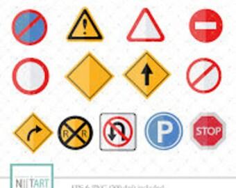 Traffic signs clip art, Road signs clipart, vector graphics, traffic symbols clipart, digital clip art, digital images -  CL 133