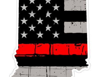Indiana State (C15) Thin Red Line Vinyl Decal Sticker Car/Truck Laptop/Netbook Window