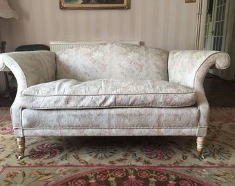 2 Luxury Vintage Camelback/Humpback Sofas From Harrods In Pastel Tapestry - Bought early 90s - Excellent Condition