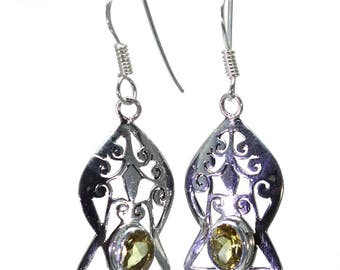 Lemon Quartz Earrings, 925 Sterling Silver, Unique only 1 piece available! color yellow, weight 5g, #24688