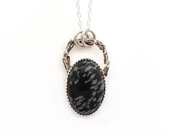 Woodland Snowflake Obsidian Necklace - Twig Nature Boho