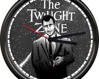 Twilight Zone Rod Serling Science Fiction Fantasy Psychological Thriller Supernatural Retro Vintage TV Television Show Sign Wall Clock