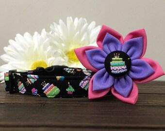 Dog collar, cupcake dog collar, happy birthday dog collar, birthday dog collar, birthday collar, happy birthday collar, collar flower, party