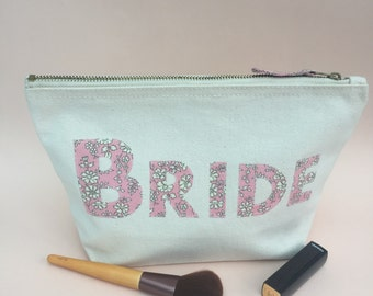 Bride Zip Pouch, Liberty Print Applique Bride make up bag, Brides honeymoon zip pouch, Bridal wedding gift, Liberty Wedding gift, bride bag