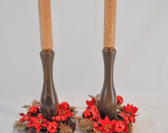 SALE!! Walnut  CANDLE STICKS- HandCrafted hand lathed by local artist candle sticks