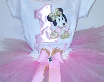Pink and Gold Minnie Mouse 1st Birthday Outfit Onesie Tutu FREE Hair Bow Baby Girl Little Toddler