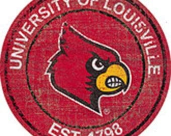 """NCAA Louisville Cardinals Round Distressed Historic Established Wood Sign 24"""" In Diameter"""