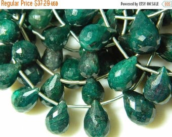 ON SALE 50% Green Corundum Briolettes, Emerald Beads, Faceted Tear Drop Beads, 9 Pieces, 6x10mm To 10x15mm Each