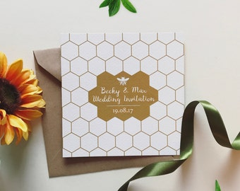25 Personalised Honey Bee Wedding Invitations Free Envelopes your choice of colour