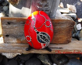Painted rock love gift dot art Australian aboriginal inspired stone paint crane paperweight housewarming rustic art deco wedding present
