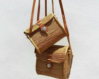 Small basket bag,  Crossbody basket bag, small shoulder basket bag, Woven Ata bag