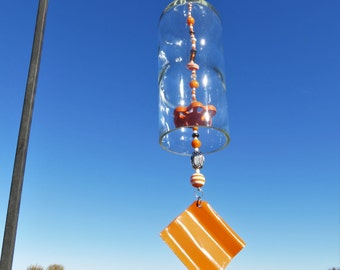Recycled Clear Wine Bottle Wind Chime, University of TN Wind Chime, Orange and White Wind Chime, UT Bottle, UT Wind Chime