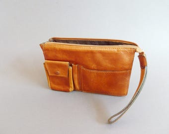 Vintage Leather Pouch with zipper, small leather bag with pockets,