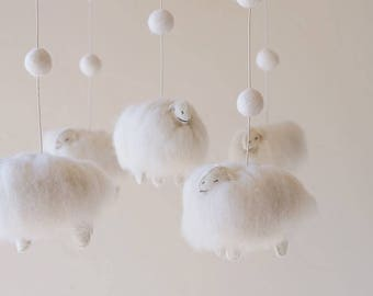 nursery decor - baby mobile - Lamb mobile - Sheep mobile - sheep nursery - felt balls - felt - wool _MADE TO ORDER