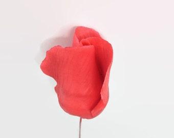 Coral Color Rose Buds set of 5 for sugar flower arrangements, fondant gumpaste flower wedding cake toppers, cake decorations, filler flowers