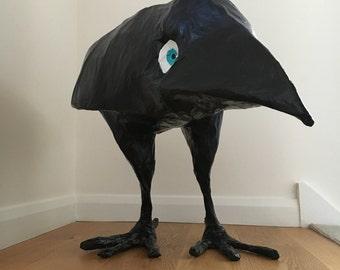 Paper mache Bird sculpture / Crow / Jackdaw large