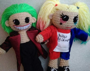 Joker and Harley Quinn Suicide Squad Crochet Dolls Portrait Dolls Harley Quinn Doll Joker Doll Suicide Squad Doll arkham city MADE TO ORDER