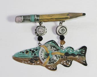 Whimsical Fish and Pencil Pin, Porcelain Pin, Hand Painted Glaze Fish Pin, 1990s