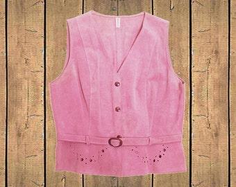Vintage Suede Belted Waistcoat Womens Cutouts Press Stud Fastening Dusky Pink Retro UK 12 EU40 US8