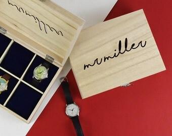 Mr personnalisé cadeau boîte - cadeau pour lui - montres en bois pour mari - cadeau anniversaire - cadeau pour petit ami - cadeau personnalisé [WTCHBX-VT-001]