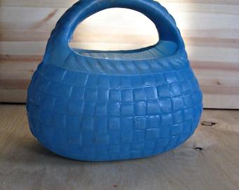 Vintage baby basket/ doll basket/toy basket/ blue basket/ plastic basket/toy USSR