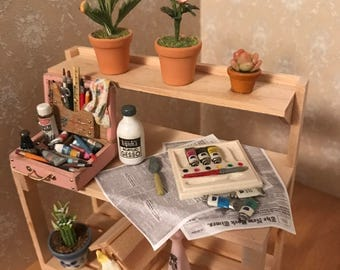 1:12 One Inch Scale Potting Bench Artist Miniature Dollhouse
