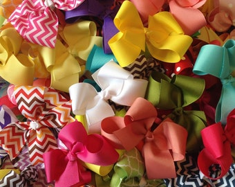 """Clearance, sale, hair bows, girls bows, resell lot, wholesale lot, hair bow lot, 4"""" hair bow, grab bag, boutique bow, clearance bows"""