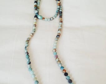 Amazonite Double Wrap Necklace, beaded necklace, long strand necklace, trendy necklace