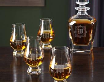 Winchester Custom Glencairn Glasses and Draper Decanter - Birthday Gift ideas - Whiskey Lovers