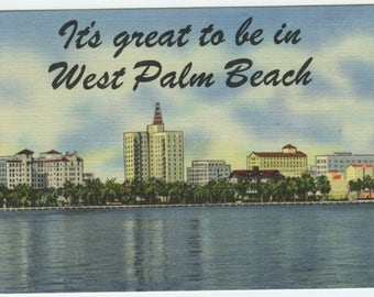 West Palm Beach Florida Greetings Linen Postcard