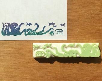 Under the sea stamp, nautical rubber stamp, ocean life eraser stamp, marine nautical stamp, handmade pattern rubber stamp, hand carved stamp