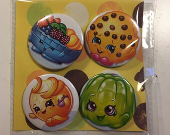 Shopkins pack of four handmade pin badges