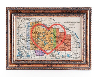 Algonquin Park Hand Embroidered Heart Map, Paper Art, Cotton Anniversary, Wedding, Graduation Gift For Her, Travel Map, Love, Engagement