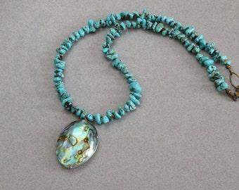 Bohemian Beaded Necklace/ Bohemian Large Paua Abalone Shell Pendant/Turquoise Magnesite Beaded Statement Necklace